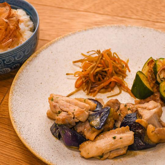 総州古白鶏と茄子の大場味噌炒め定食
